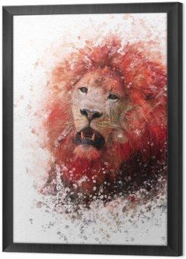 Cuadro Enmarcado Acuarela cabeza de león