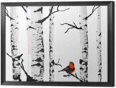 Cuadro Enmarcado Aves de abedules, dibujo vectorial con elementos editables.