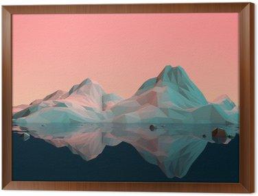Cuadro Enmarcado Baja-Poly paisaje de la montaña 3D con agua y Reflexión