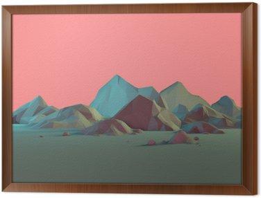 Cuadro Enmarcado Baja-Poly paisaje de la montaña en 3D con los pasteles