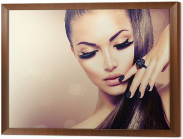 Cuadro Enmarcado Beauty Girl moda Modelo con pelo largo sano Brown