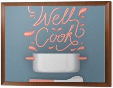 Cuadro Enmarcado Bien cocinar cita con el crisol 3D moderna representación 3D ilustración