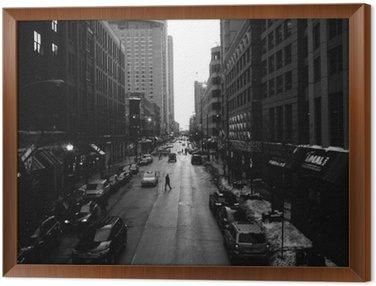 Cuadro Enmarcado Blanco calles de Chicago y negro