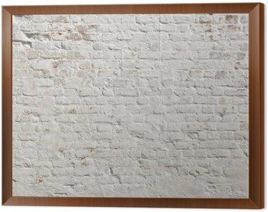 Cuadro Enmarcado Blanco grunge ladrillo la pared de fondo