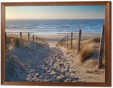 Cuadro Enmarcado Camino a la playa del mar del Norte en sol de oro
