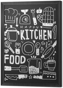 Cuadro Enmarcado Cocina elementos garabatos mano línea trazada icono, eps10