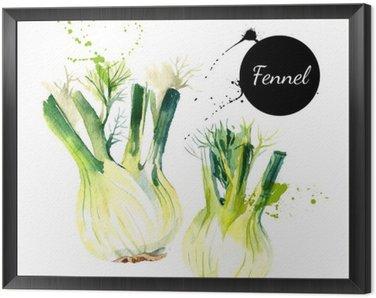 cuadro enmarcado cocina hierbas y especias bandera ilustracin del vector acuarela