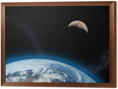 Cuadro Enmarcado Erde und Mond 3d
