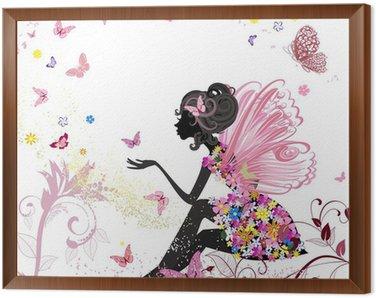 Cuadro Enmarcado Flor de hadas en el entorno de las mariposas
