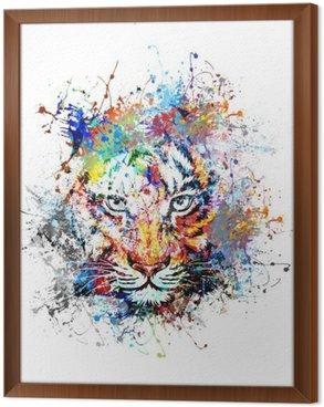 Cuadro Enmarcado Fondo brillante con el tigre