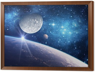 Cuadro Enmarcado Fondo con un planeta, luna y estrella
