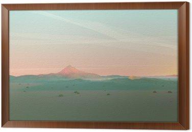 Cuadro Enmarcado Geométrica del paisaje de montaña con el cielo degradado