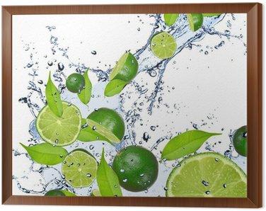 Cuadro Enmarcado Limes caen en el chapoteo del agua, aislado en fondo blanco
