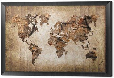Cuadro Enmarcado Mapa del mundo de madera, textura del vintage