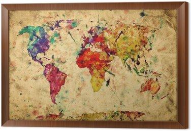 Cuadro Enmarcado Mapa del mundo del vintage. Colorido de la pintura, acuarela sobre papel grunge
