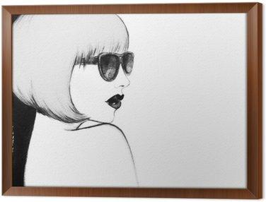 Cuadro Enmarcado Mujer con gafas. ejemplo de la acuarela
