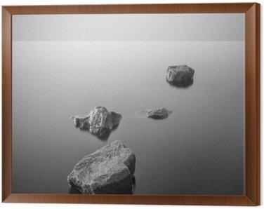 Cuadro Enmarcado Paisaje brumoso minimalista. En blanco y negro.