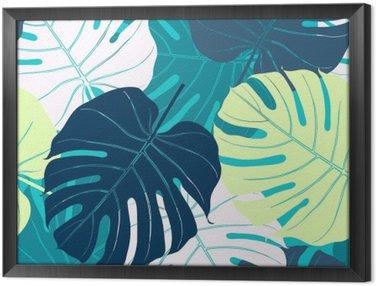 Cuadro Enmarcado Patrón sin fisuras con las hojas de palma
