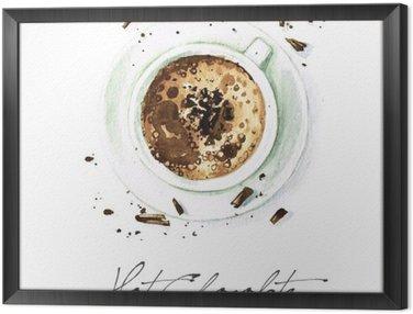 Cuadro Enmarcado Pintura de la acuarela de Alimentos - chocolate caliente
