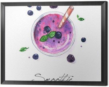 Cuadro Enmarcado Pintura de la acuarela de Alimentos - Smoothie