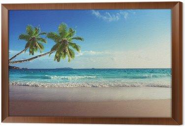 Cuadro Enmarcado Puesta de sol en la playa de Seychelles