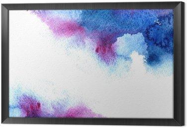 Cuadro Enmarcado Resumen azul y violeta acuosa frame.Aquatic backdrop.Hand acuarela dibujado salpicaduras stain.Cerulean.