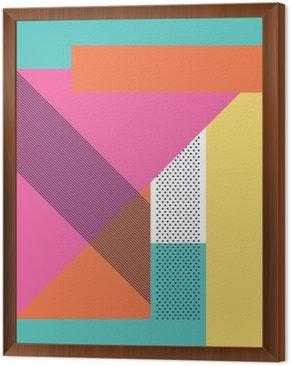 Cuadro Enmarcado Resumen de fondo 80s retro con formas geométricas y patrones. fondos de escritorio de diseño de materiales.