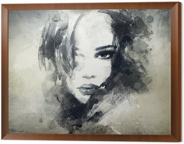 Cuadro Enmarcado Retrato de mujer abstracta
