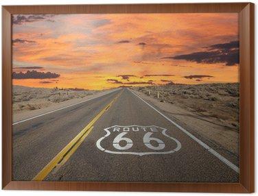 Cuadro Enmarcado Ruta 66 Pavimento Entrar Amanecer Mojave Desert