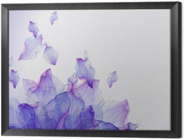 Cuadro Enmarcado Tarjeta de la acuarela con el pétalo de la flor púrpura