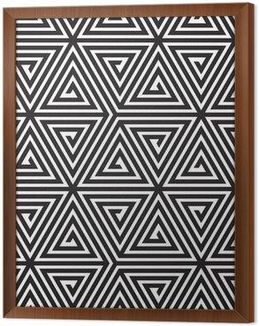Cuadro Enmarcado Triángulos, Blanco y Negro Modelo geométrico abstracto inconsútil,