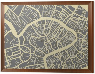 Cuadro Enmarcado Venecia mapa vectorial. Monocromo base de diseño de la vendimia para la tarjeta de viaje, publicidad, regalo o un cartel.