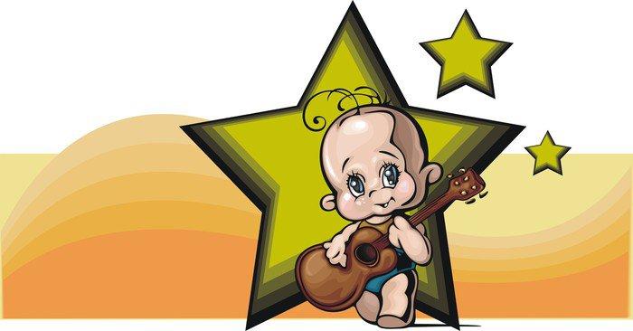 Obraz na Płótnie Cute Baby z gitarą - Niemowlęta
