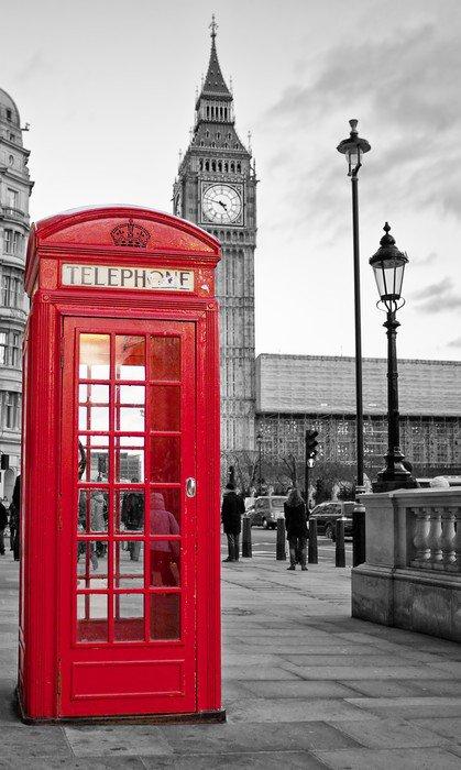 Fototapeta Vinylowa Czerwona budka telefoniczna w Londynie z Big Ben w czerni i bieli -
