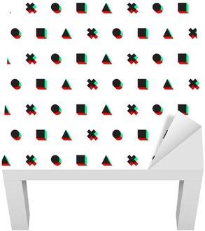 Dekal till Bordet Lack Triangel tvär cirkel kvadrat stereo digital 3d web mönster