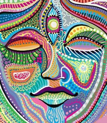 Pixerstick till Allt Abstrakt kvinna ansikte med mångfärgade indiska mönster