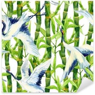 Pixerstick Dekor Akvarell asiatisk kran fågel seamless
