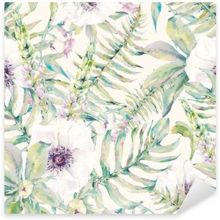 Pixerstick Dekor Akvarell blad seamless med ormbunkar och blommor