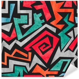 Pixerstick Dekor Akvarell graffiti seamless. Vektor färgrik geometrisk abstrakt bakgrund i rött, orange och blå färger.
