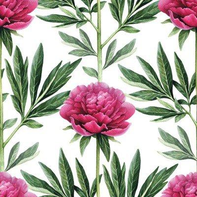 Pixerstick till Allt Akvarell pion blommor illustration. Seamless mönster