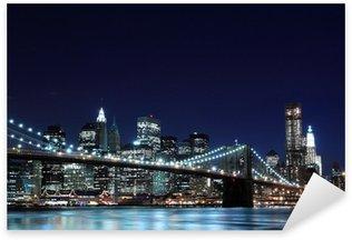 Pixerstick till Allt Brooklyn Bridge och Manhattan horisont på natten, New York City