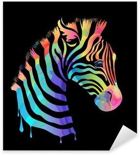 Pixerstick till Allt Färgade zebra på svart