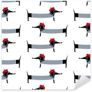 Pixerstick Dekor Fransk stil hund seamless. Gullig tecknad parisian tax vektorillustration. Barn ritning stil valp bakgrund. Fransk stil klädd hund med röd basker och randig klänning.