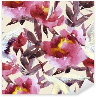 Pixerstick Dekor Handmålade vattenfärg pioner och kran fåglar