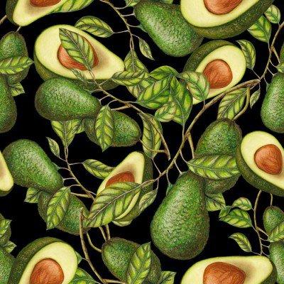Pixerstick till Allt Handritad avokado på mörk bakgrund, seamless