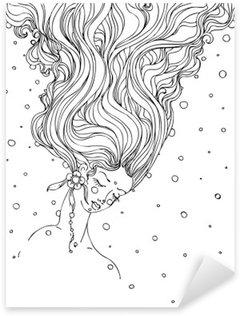 Pixerstick Dekor Handritad bläck klotter flickor ansikte och flödande hår på vit bakgrund. design för vuxna, affisch, tryck, t-shirt, inbjudan, banderoller, flygblad. skiss. vektor eps 8.