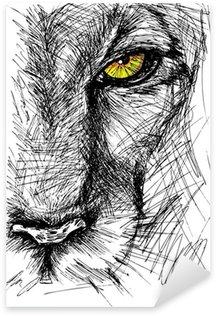 Pixerstick till Allt Handritad skiss av ett lejon tittar uppmärksamt på kameran