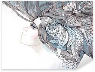 Pixerstick Dekor Håret utsmyckade med bladverk