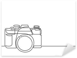 Pixerstick Dekor Heldragen linje ritning av retro fotokamera