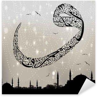 Pixerstick Dekor Istanbul moskéer med kalligrafi och bokstaven vav